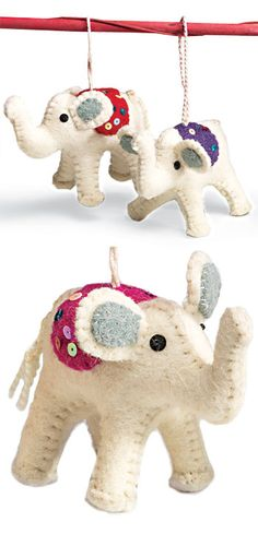 Felt elephant with blanket stitch and sequins