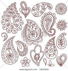 Hand-Drawn Abstract Henna (mehndi) Paisley Vector Illustration Doodle Design Elements