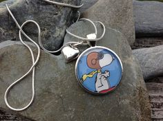 Snoopy Postage stamp pendant by JewelArella on Etsy, $27.00