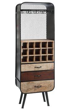 Meuble Bar de la marque J-line chez Kotecaz. Wine Furniture, Industrial Furniture, Bar Unit, Bar A Vin, Sweet Home, Deco Originale, Wine Cellar, Armoire, Wood Projects
