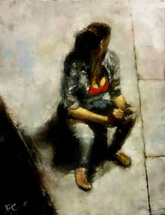 Oil on gallery wrapped canvas. This is an oil painting of a woman that I saw on the phone at a bus stop. The size of this painting is 14 in. x 18 in. x 3/4 in. It is painted black on the sides and ...