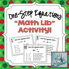 "One-Step Equations ""Math Lib"" Activity - Holiday-themed FREEBIE!"