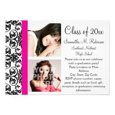Hot Pink Damask Pink/Black Graduation Announcement with two pictures