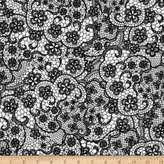 RJR Patrick Lose Odds and Ends Black White Lace Fabric 2900-001 BTY #RJRFabrics