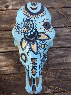 Boho Cow Skull Decor by WildBohemianMoon on Etsy