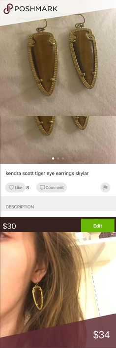 kendra scott sky tiger eye earrings kendra scott earrings in tigers eye- a great color that looks nice with brown hair. slightly smaller than skylar earrings!. I dropped one of the earrings and you can see the cracks on the back (3rd pic) but is hardly noticeable tom the front. gold frame. clean and sanitized! Kendra Scott Jewelry Earrings