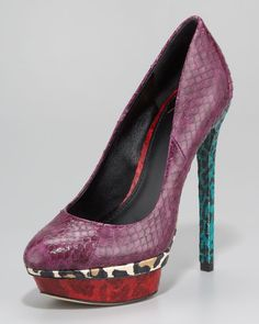 leopard-printed colorblock snakeskin. i'd never wear them but they're fun to look at. b brian atwood; fontanne colorblock snakeskin platform pump