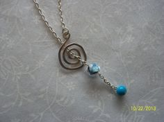 Blue & Silver Spiral Lariat Necklace by DysfunctionalAries on Etsy, $20.00