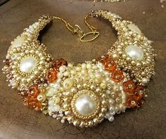 Bead embtoidered necklace Celebrate Sunshine by SassyBeadedJewelry