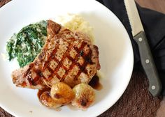 Grilled Pork Chops with Honey Glazed Cippolini