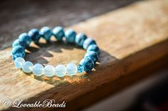 Health&Security natural opal sea blue rain stone glass handmade stretch yoga bracelet