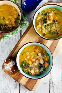 Sausage and Kale Soup definitely needs crusty bread for serving. Perfect sopping up the bottom of the bowl!