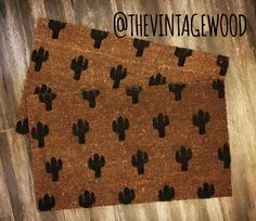 Cactus Door Mat 18x30 Heavy duty Vinyl Coir Mat Cactus design placement vary. Painted with outdoor paint and hold up with weather elements but last long under cover.