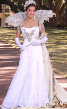 Mardi Gras queen gown designed by high school friend and couture wedding gown designer Suzanne Perron.