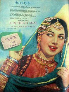 Lux soap ad featuring Suraiya - 1958
