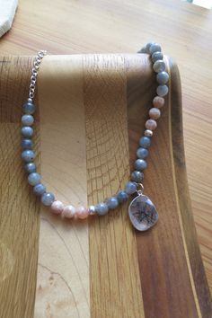 Agate Bead Necklace and Quarts Pendant by IrisMDesigns on Etsy, $30.00