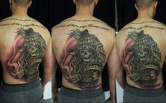 Skull, samurai, oriental style, oldbonetattoo, Edmar venancio