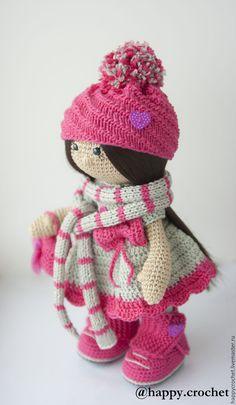 Купить Валентинка - фуксия, серый, кукла ручной работы, кукла в подарок, кукла крючком