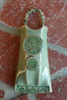 Green Celadon Medallion Wall Vase by muddyfingers on Etsy, $26.00