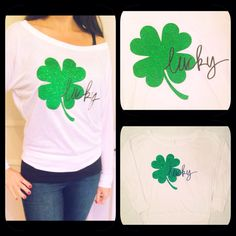 Show how lucky you are with this super cute St.. Patricks Day shirt !! The perfect shirt for St. Patricks Day This off the shoulder shirt is super