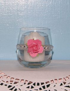 Wedding Votive Candle Holder / Pink and by CarolesWeddingWhimsy, set of 5, Pink and Gray/Silver Wedding Votive Candle Holder Trimmed with Rhinestones - You can find it here https://www.etsy.com/listing/167846886/wedding-votive-candle-holder-pink-and