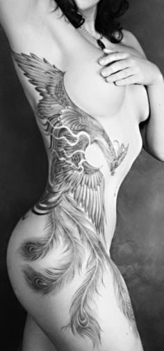 Phoenix Tattoo - this is absolutely gorgeous I LOVE IT, but I want it wrapped around my thigh