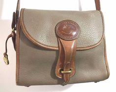 Vintage Dooney and Bourke Taupe Tan All Weather Crossbody Shoulder Handbag PURSE #eBayDanna