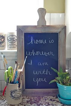 Love the board. I want to do this and put it in the kitchen.    wherever I am with you via Vintage Junky #thoughtsforthehome