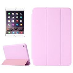 For+iPad+mini+4+Pink+Solid+Color+Leather+Case+with+Holder+&+Sleep/Wake-up+Function