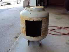 Cheaper wood burning stove option for a sauna. Used 20gal propane tank.