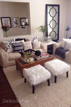 The faux fur stools add fun to the family room! So does this fabulous white and gold cowhide tray also from - apartment - decor - decorating - neutral - living room - HomeGoods Beige Living Rooms, Home Living Room, Living Room Designs, Living Room Decor, Brown And Gold Living Room, Small Living Rooms, Design Salon, Lounge Design, Home And Deco