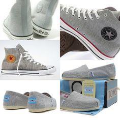 6d5300131cb Grey toms & all star converse love Grijze Instappers, Chuck Taylors,  Schoenen Sneakers,