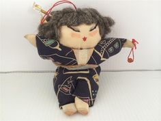 Vintage Hand Made Silk Asian Doll Japan China Cloth Fighting Fighter Kimono | eBay