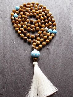 Knotted Mala Necklace, 108 Mala Beads, Picture Jasper Jewelry, Long Gemstone Accessories, Beaded Tassel Necklace, Bohemian Jewelry