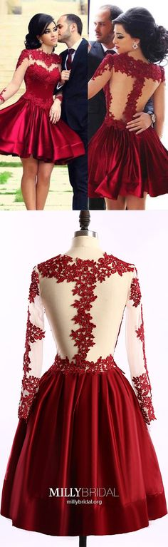 Short Prom Dresses For Teens,Burgundy Homecoming Dresses Simple,Elegant Cocktail Dresses Lace,Long Sleeve Graduation Party Dresses Cheap #MillyBridal #homecomingdresses #cocktaildress #promdresses