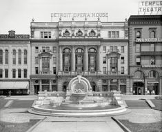 """The Motor City circa """"Detroit Opera House and Palmer Fountain."""" Also called the Merrill Fountain. State Of Michigan, Detroit Michigan, Detroit State, Flint Michigan, Old Photos, Vintage Photos, Vintage Stuff, Detroit History, Foundation"""