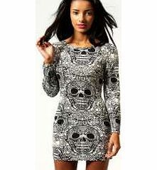 boohoo Myla Skull Print Long Sleeve Bodycon Dress - Get ready to rock in the bad ass bodycon dress with stand out skull detail. The two tone palette looks perfect paired with knock-out neon accessories - think a clashing clutch bag and poppin platform  http://www.comparestoreprices.co.uk/dresses/boohoo-myla-skull-print-long-sleeve-bodycon-dress-.asp