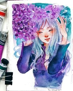 ashiya в Твиттере: «I love this time of the year when you just go down the street and lilac's scent hit you right in your face🌸… Watercolor Drawing, Watercolor Paintings, Drawing Competition, Time Of The Year, Just Go, Art Inspo, Lilac, Character Design, Instagram
