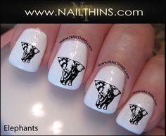 Elephant Nail Decal by NAILTHINS Elephants nail art designs in . Daisy Nail Art, Daisy Nails, Animal Nail Designs, Cool Nail Designs, Elephant Nail Art, Elephant Stuff, Alabama Nails, Natural Looking Nails, Bright Nail Art