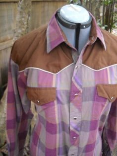 vintage mens western PLAID with brown yoke by nearlydeadthreads, $30.00