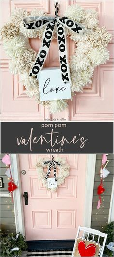 How to Make a Valentine Heart Pom Pom Yarn Wreath. Brighten up your door this winter with a textured pom pom wreath for valentine's Day! Valentines Day History, Valentines Day Date, Valentine Day Wreaths, Valentines Day Decorations, Valentine Day Crafts, Valentine Heart, Kids Valentines, Valentine's Day Quotes, Craft Stick Crafts