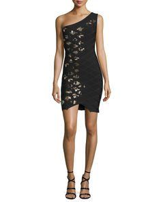 One-Shoulder Embellished Bandage Dress, Black