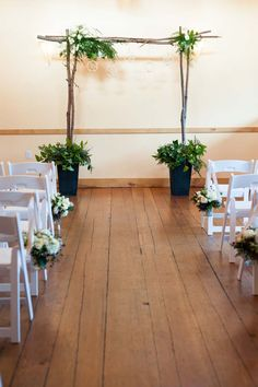 rustic wedding indoor ceremony decor