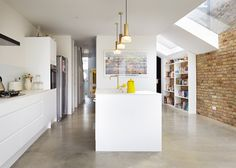 Rise Design Studio adds glass extension to London house White Kitchen Appliances, Home, London House, Contemporary House, New Homes, House Extension Design, House, Terrace House, Interior Design