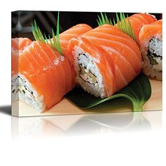 Wall26  Canvas Prints Wall Art  Japanese Sushi Traditional Japanese Foodroll Made of Salmon  Modern Wall Decor Home Decoration Stretched Gallery Canvas Wrap Giclee Print Ready to Hang  24 x 36 ** Find out more about the great product at the image link.Note:It is affiliate link to Amazon.