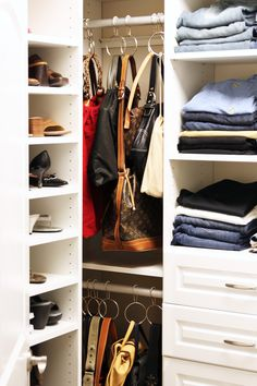 Great use of a closet corner... Handbag Storage Demystified // Live Simply by Annie