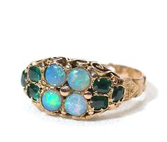 Who knew opals looked so amazing with emeralds in yellow gold? (Whoever made this lovely Victorian ring in the 1860s, I guess... :-)