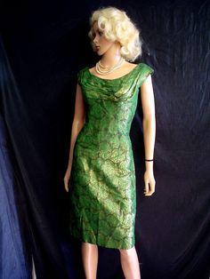 50s M 36 Robert Morton Brocade Sheath Cocktail Dress by Weirdorama, $250.00