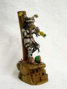 Native American Hopi Carved Clown (Koshare) Katsina Doll with Flute by Milton Howard