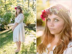 sun kissed bridal looks with floral crown